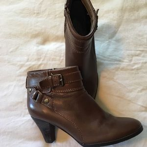 Brown leather strap booties NWOT